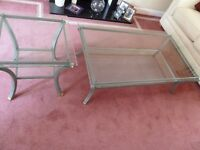 French Antique Glass Coffee Table and Matching Lamp Table