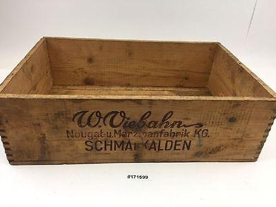 alt Kiste Holzkiste Nugat Marzipanfabrik Schmalkalden Bäckerei Laden Deko#171599