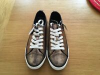 Ladies Metallic Gold Lace Up Baseball Pumps/Trainers - Size 7 (41) BNWT