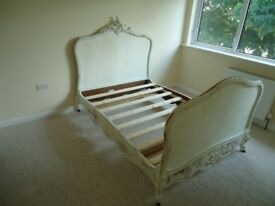 Antique French Double Bed Hand Carved Mahogany With a Shabby Chic Finish