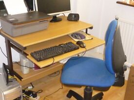 Oak colour computer workstation with computer chair
