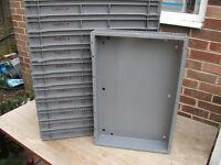 Grey plastic trays 60cmx40cmx6.5cm