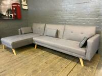 GORGEOUS GREY FABRIC CORNER SOFA AND BED IN EXCELLENT CONDITION