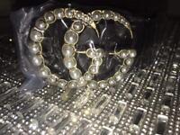 Women's Gucci Belt Logo Buckle Pearl 8 10 12
