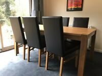 Oak table and 6 chair dining set