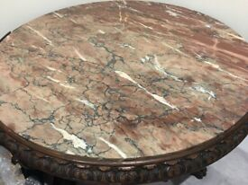 Antique oak and marble table