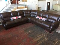 BROWN LEATHER 8 SEATER CORNER SOFA IN EXCELLENT CONDITION FREE LOCAL DELIVERY AVAILABLE