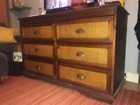 Vintage Solid Wood Woven Chest of Drawers