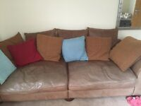 Leather nubuck settee and chair