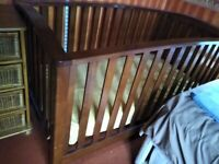 Sturdy wooden cot with Mothercare mattress