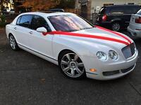 White Bentley Flying Spur Wedding Chaffeur Limo Limousine Rental