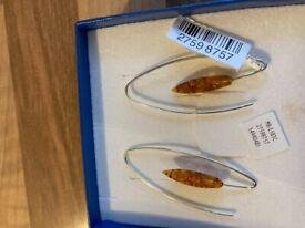silver amber hoop earrings