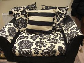 TWO SEATER SOFA BLACK & CREAM