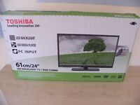 "TOSHIBA, 24"" LED BACKLIGHT TELEVISION/DVD USB MEDIA PLAYER PC INPUT NEW BOXED"