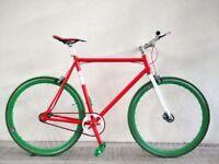 (2795) 700c 58 cm Aluminium NO LOGO FIXIE SINGLE SPEED BIKE URBAN COMMUTER BICYCLE Height: 180-195cm