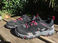 Merrell Women's Gore tex hiking walking shoes trainers, SIZE 4, pink, black and grey. VG condition