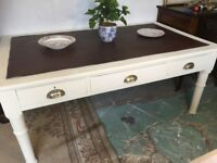 Vintage Farmhouse Table Solid Chalk Painted Base Gorgeous Coffee /Dining Desk