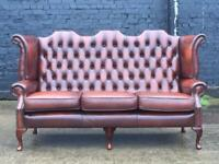 STUNNING CHESTERFIELD THREE SEATER WINGBACK SOFA - SETTEE IN BROWN LEATHER