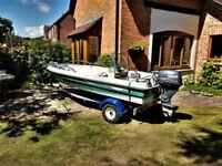 Terhi Sea Fun 400C Fishing Sports Boat with 15HP Yamaha 4-stroke on trailer