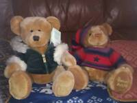 Two large Harrods Christmas bears with tags