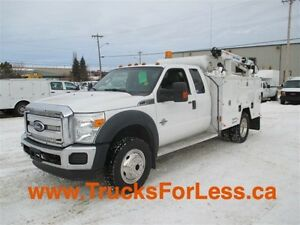 2011 ford F-550 XLT 4X4, 9 Ft BODY + CRANE + VMAC!!