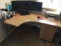 Large corner/curved office desk and drawers/filing cabinet