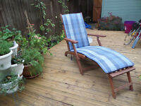 Homebase solid wooden adjustable deck chairs / sun loungers with blue check cushions