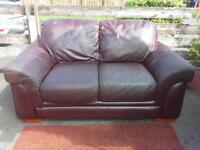 Brown genuine leather 2 two seater sofa settee