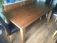 Large Pine Table Ikea Forsby 180x100x75 Good Condition + 6 faux leather chairs