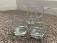 Singleton Wh!sky glass jug and 2 glasses matching Set