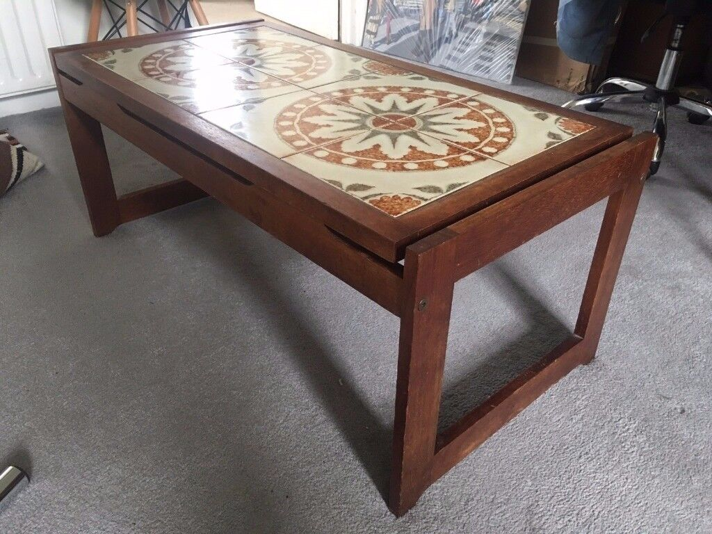 1970s Mid Century Tiled Coffee Table Retro Vintage
