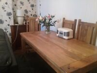 Solid oak dinning table 4 chairs