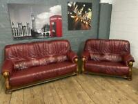 DARK RED LEATHER SOFA SET WITH WOODEN FRAME 3+2 seater