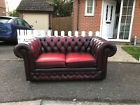 Oxblood Red Leather Thomas Lloyd Chesterfield 2-Seater Sofa