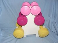 Set of 3 Pairs of Dumbbells - Pink, Yellow, 1.1Kg 1.5Kg 2.3Kg Fitness Weights