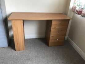 Good condition desk and bedside table