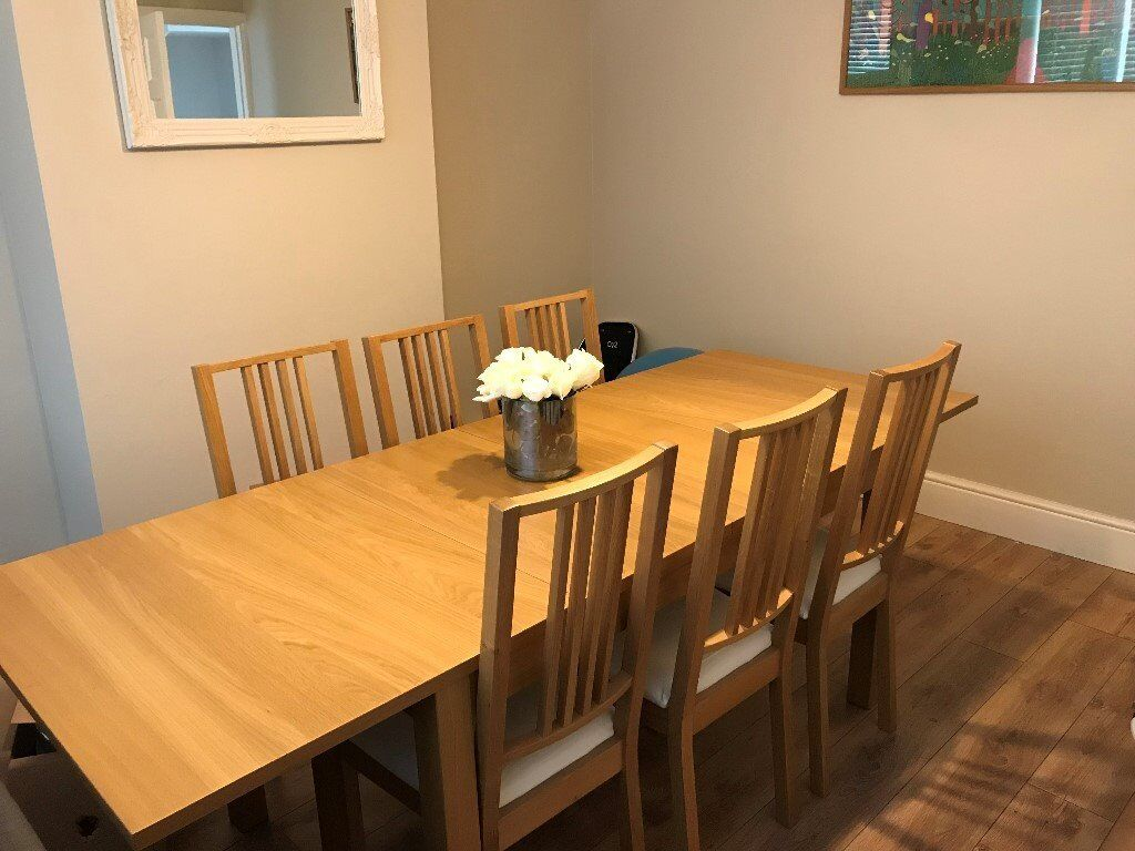 Ikea Dining Room Table And 6 Matching Chairs Excellent Condition