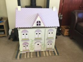 Wooden dolls house Rose cottage ELC with accessories