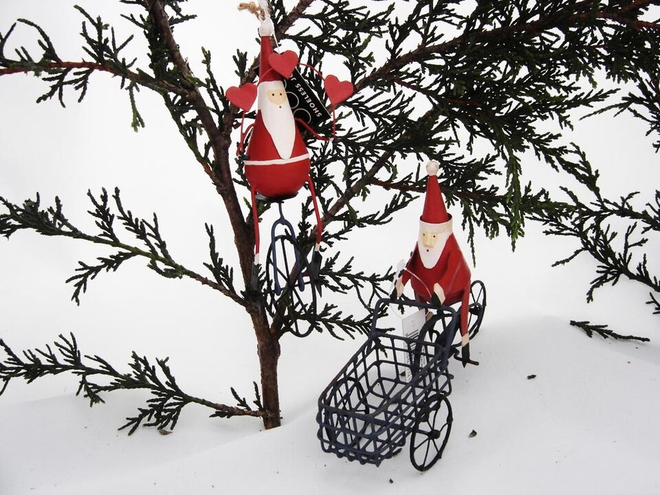 Set of 2 Christmas Tree Decorations - Santa on Trike & Santa on Unicycle