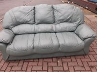 3 seater light green leather sofa