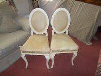 1926 original antique chairs - 2 identical chairs, need reupholstering, wood frame fine