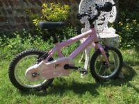 Girl's Pink Ridgeback Honey pedal bike + stabilisers