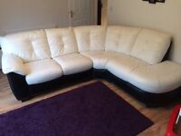 Leather right hand corner sofa, white and black.