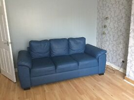 2 and 3 seater blue leather sofas