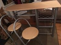 breakfast bar and 2 stools
