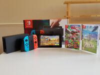 Nintendo Switch - Neon Red with Zelda and Splatoon 2