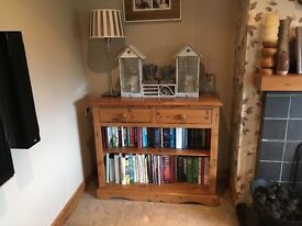 Pine bookcase sideboard with drawers