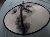 MOTHER OF THE BRIDE STUNNING HAT IN CHAMPAGNE WITH DELICATE BLACK FLOWERS - AS NEW - BARGAIN £30.00!