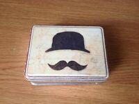 Retro Metal Mr Moustache Hat Vintage Craft Pill Box Keepsake Pocket Tin Storage