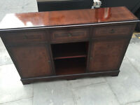 Mahogany Side cabinet , with drawers and storage . Size L 48in D 12in H 31in. Free local delivery.